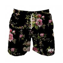 Short Tactel Masculino Black Flowers Com Bolsos - Maromba fight wear