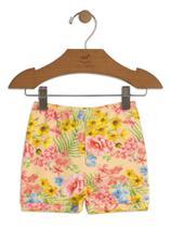 Short Up Baby Suedine Floral Amarelo -