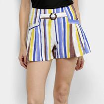 Shorts Adooro! Listrado Colorido Cintura Média Feminino -