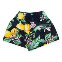 Shorts Bebê Menina Franzido Floral Preto - Fantoni