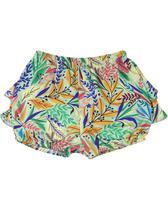Shorts Bebê Tricoline Estampa Digital Folhas e Folhagens - Verde - Ano Zero