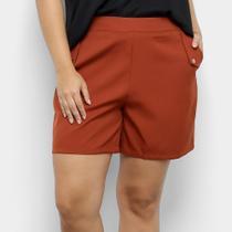 Shorts City Lady Plus size Alfaitaria Liso Feminino -