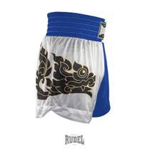 Shorts de Muay Thai MT 08 Dragon II Azul e Branco Rudel Sports -