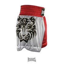 Shorts de Muay Thai MT 10 Tigre Vermelho e Branco Rudel Sports -