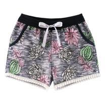 Shorts Infantil Menina Estampada Floral Marinho - Fantoni -