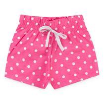Shorts Infantil Menina Fru Fru Rosa com Bolas Brancas - Fantoni