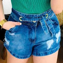 Shorts Jeans feminino sem elastano com cinto jeans nº 36 - Dona G -