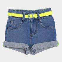 Shorts Jeans Infantil Malwee Com Cinto Neon Feminino -