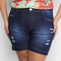 Shorts Jeans Xtra Charm Sarja Plus Size Com Cinta Modeladora Feminino -
