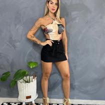 Shorts saia bengaline laço amarrar argola botões bolso - Summer Body