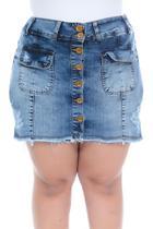 Shorts Saia Jeans Plus Size Destroyed e Barrinha Desfiada - Marileti