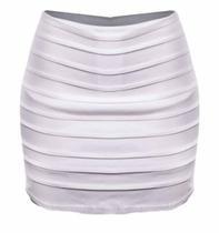 Shorts Saia Plus Size Bengaline com camadas tamanho grandes - Summer Body