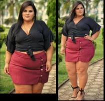 Shorts Saia Tecido Bengaline Com Botões Dourado Plus Size Grande - Summer Body Brazil