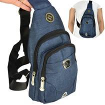 Shoulder Bag Mochila Transversal Bolsa Unisex Azul 01 CBRN12244 - Commerce Brasil