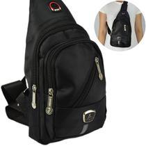 Shoulder Bag Mochila Transversal Bolsa Unisex Preto 05 CBRN12343 - Commerce Brasil