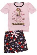 Sig@aninha - Conjunto Infantil Feminino Blusa + Short - Rosa / Preto - SA118-PT -