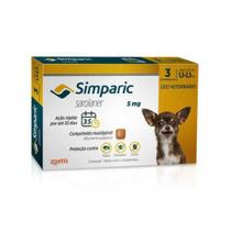 Simparic 5mg Anti Pulga e Carrapato Cães de 1,3 a 2,5 kg 3 comprimidos Zoetis -