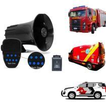 Sirene 7 Tons Tech One com Microfone - Policia Bombeiro Ambulância - TECHONE
