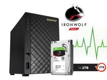 Sistema de Backup NAS com Disco Ironwolf Asustor AS1002T2000 V2 Marvell Dual Core 1,6 GHZ 512MB DDR3 Torre 2TB -