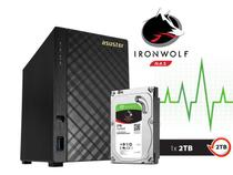 Sistema de backup nas com disco ironwolf asustor as1002t2000 v2 marvell dual core 1,6 ghz 512mb ddr3 -