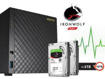 Sistema De Backup Nas Com Disco Ironwolf Asustor As3104t12000 Celeron Dual Core 1,6ghz 2gb Ddr3 12tb -