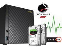 Sistema de Backup NAS com Disco Ironwolf Asustor AS3104T8000 Celeron Dual Core 1,6GHZ 2GB DDR3 Torre 8TB -