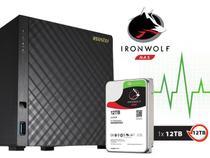Sistema de Backup NAS com Disco Ironwolf Asustor AS3204T12000 Celeron Quad Core 1,6GHZ 2GB DDR3 Torre 12TB -