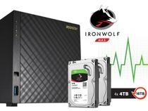 Sistema De Backup Nas Com Disco Ironwolf Asustor As3204t16000 Celeron Quad Core 1,6ghz 2gb Ddr3 Torre 16tb -