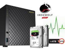 Sistema de Backup NAS com Disco Ironwolf Asustor AS3204T24000 Celeron Quad Core 1,6GHZ 2GB DDR3 Torre 24TB -