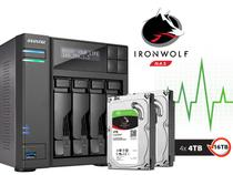 Sistema De Backup Nas Com Disco Ironwolf Asustor As6204t16000 Intel Quad Core J3160 1,6ghz 4gb Ddr3 Torre 16tb -