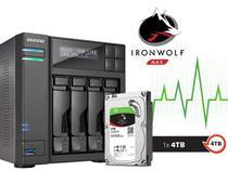 Sistema de Backup NAS com Disco Ironwolf Asustor AS6204T4000 INTEL Quad Core J3160 1.6GHZ 4GB DDR3 Torre 4TB -