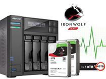 Sistema de Backup NAS com Disco Ironwolf Asustor AS6204T40000 INTEL Quad Core J3160 1.6GHZ 4GB DDR3 Torre 40TB -