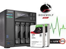Sistema de Backup NAS com Disco Ironwolf Asustor AS6204T48000 INTEL Quad Core J3160 1,6GHZ 4GB DDR3 Torre 48TB -