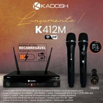 Sistema Microfone sem Fio K-412M UHF Duplo Vocal - KADOSH -