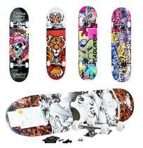Skate com Shape de Madeira Grande Estampado Top Super 79cm - Dm Brasil