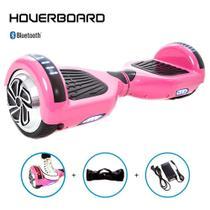 Skate Elétrico 6,5 Rosa Hoverboard com Bluetooth e Bolsa -