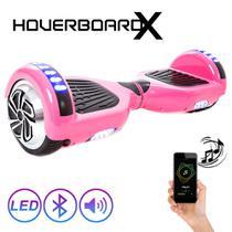Skate Elétrico 6,5 Rosa HoverboardX com Bluetooth e Bolsa -