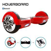 Skate Elétrico 6,5 Vermelho Hoverboard Bluetooth e Bolsa -
