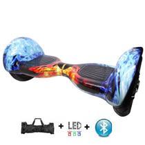 """Skate Elétrico Hoverboard 10"""" GELO FOGO Bluetooth e LED com Bolsa - Bateria Longa Duração - Smart Balance -"""