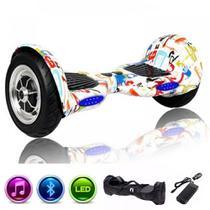 """Skate Elétrico Hoverboard 10"""" GRAFITTE Bluetooth e LEDs com Bolsa - Bateria Original - Smart Balance -"""