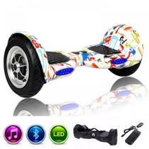 Skate Elétrico Hoverboard 10 GRAFITTE Bluetooth e LEDs com Bolsa - Bateria Original - Smart Balance -