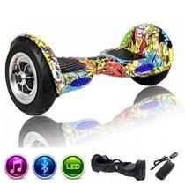 """Skate Elétrico Hoverboard 10"""" HIP HOP Bluetooth e LEDs com Bolsa - Bateria Original - Smart Balance -"""
