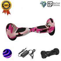 """Skate Elétrico Hoverboard 10"""" ROSA CAMUFLADO Bluetooth e LEDs com Bolsa - Bateria Original - Smart Balance - Smart Balance Wheel"""