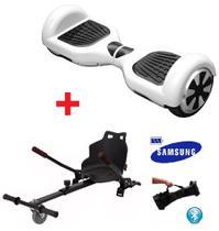Skate Elétrico Hoverboard 6.5 BRANCO + Hoverkart Carrinho Bluetooth, LED - Bateria Samsung Bolsa - Smart Balance -