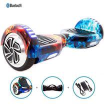 """Skate Elétrico Hoverboard 6.5"""" GELO FOGO Bluetooth e LED com Bolsa - Bateria Samsung - Smart Balance -"""