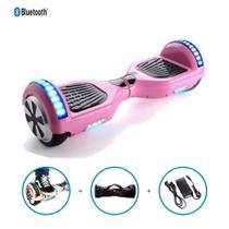 """Skate Elétrico Hoverboard 6.5"""" ROSA Bluetooth e LEDs  com Bolsa - Bateria Original - Smart Balance -"""
