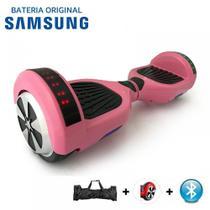 """Skate Elétrico Hoverboard 6.5"""" ROSA Bluetooth e LEDs com Bolsa - Bateria Samsung - Smart Balance -"""