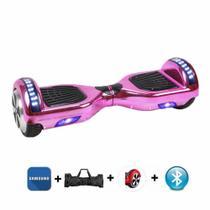 """Skate Elétrico Hoverboard 6.5"""" ROSA CROMADO Bluetooth e LEDs com Bolsa - Bateria Samsung - Smart Balance -"""