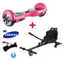 Skate Elétrico Hoverboard 6.5 ROSA + Hoverkart Carrinho Bluetooth, LED - Bateria Samsung Bolsa - Smart Balance -