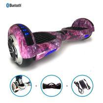 """Skate Elétrico Hoverboard 6.5"""" UNIVERSO LILÁS Bluetooth e LEDs com Bolsa - Bateria Original - Smart Balance -"""